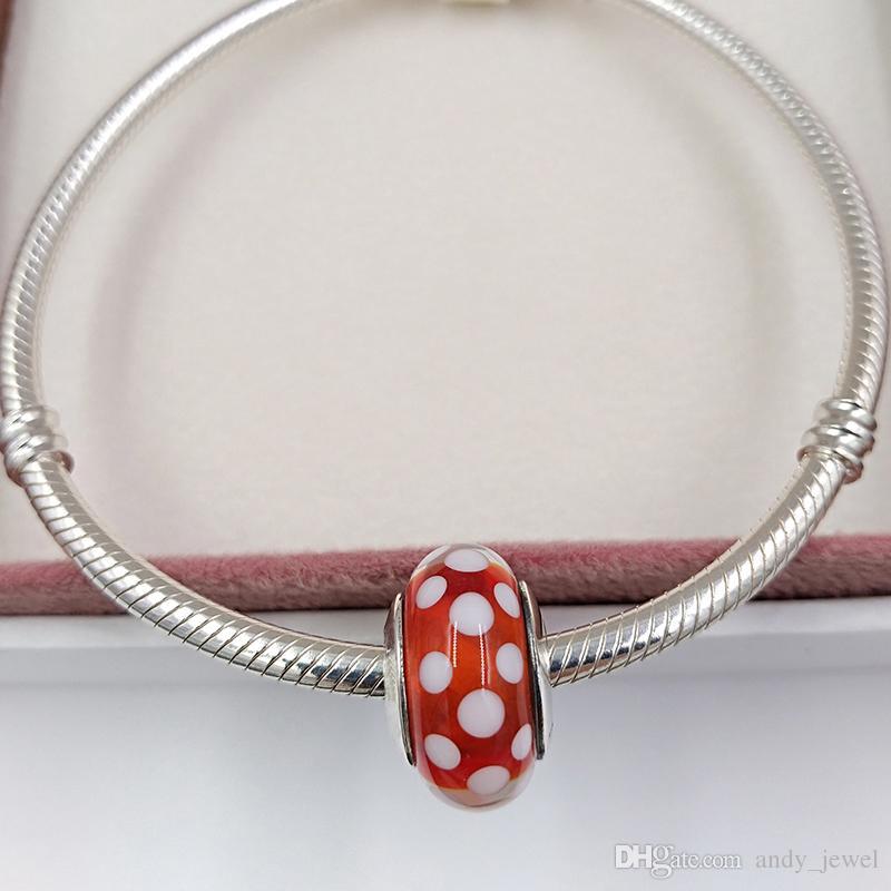 Autentiche 925 perline in argento sterling 925 fascino di Murano DSN Polka Dots Adatti Bracciali europei Pandora Bracciali in stile Pandora Collana 791635 Glass Murano