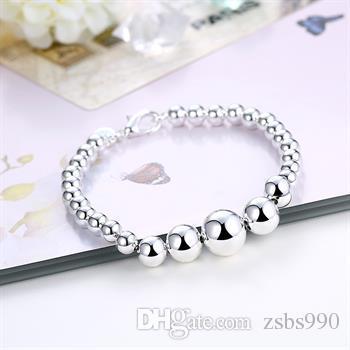 Envío gratis 925 cuentas de plata pulsera de joyería de moda brazaletes del encanto 21 cm 10 unids