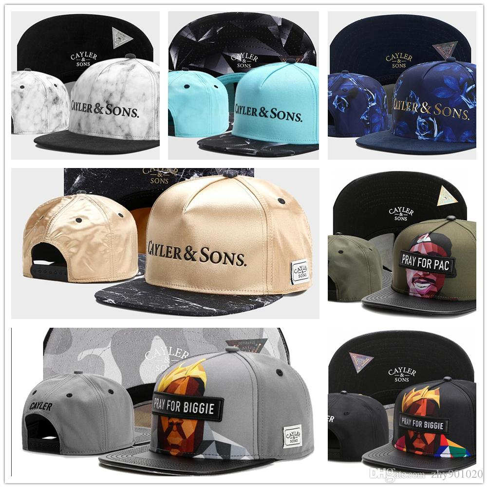 2017 Cayler   Sons PRAY FOR PAC BIGGIE Solid Black Blue Snapbacks Men Women  Ball Caps Team Football Hip Hop Adjustable Snapback Baseball Cap Ball Caps  ... 69a63bd01c9
