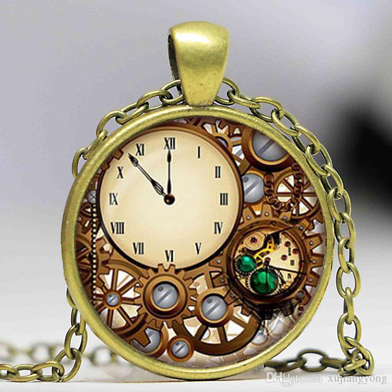 Wholesale steampunk clock glass dome pendant necklaces charms wholesale steampunk clock glass dome pendant necklaces charms personality mechanical watches pendant choker jewelry just paintingnot a real watch gold name mozeypictures