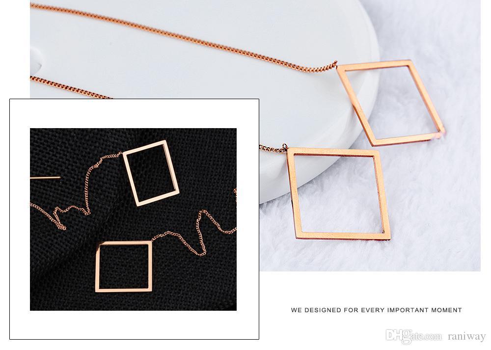 Elegante catena in oro rosa placcato in oro rosè con catena a maglie lunghe, ciondola gli orecchini di moda le donne