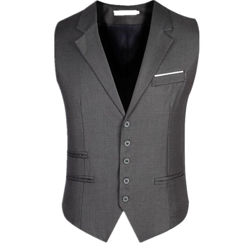 2019 Wholesale Men Vest Black Gray Blazer Collar Sleeveless Suit Vests  Classic Dress Slim Fit Vests Mens Formal Waistcoat From Charle 9f9cdc7c8