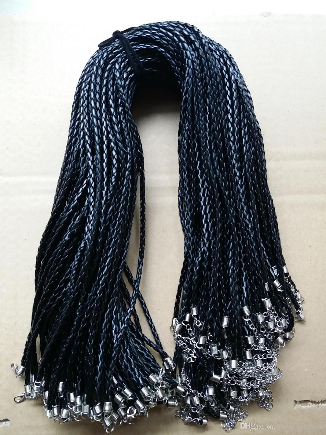 20 '' 22 '' 24' 3 mm Negro PU cuero trenzado de cuerda Cuerda Collar trenza con cierre de langosta para la joyería DIY Neckalce colgante de la joyería del arte