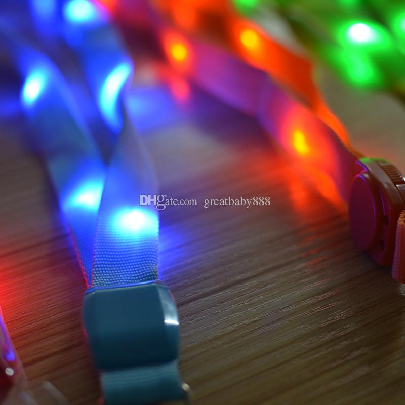 Fashion Nylon Multi-colors Led Flashing Lanyard ID Card Pendant Hanging Cord For Party,Shows and Outdoor Activities Led Lighted toys C2915