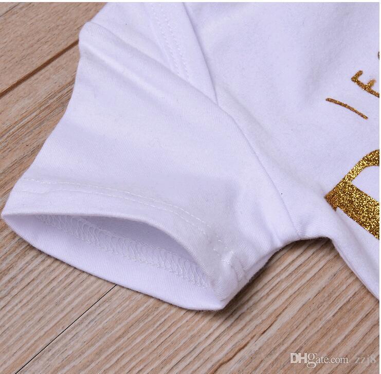 الوليد ملابس الطفل مجموعات ملابس أطفال رسالة طباعة رومبير وكسر الدعاوى زهرة منزعج القوس السراويل للأطفال الصغار الرضع