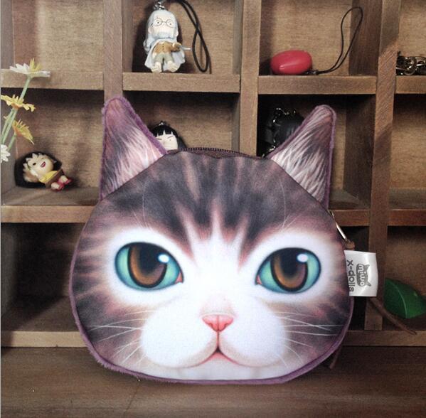 cartoon 3D print cat face coin purse cute change purse children kids wallets girls mini handbag clutch coin pouch bags