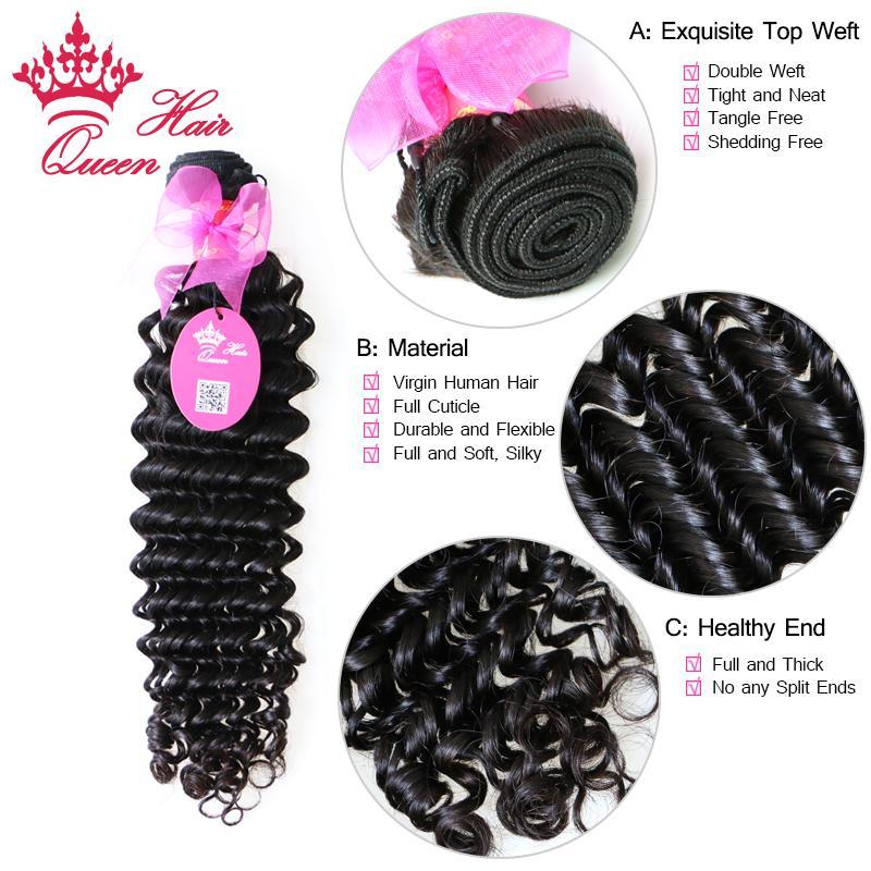 Koningin haarproducten Braziliaanse maagdelijke menselijke haarextensies diepe krullende golf 8