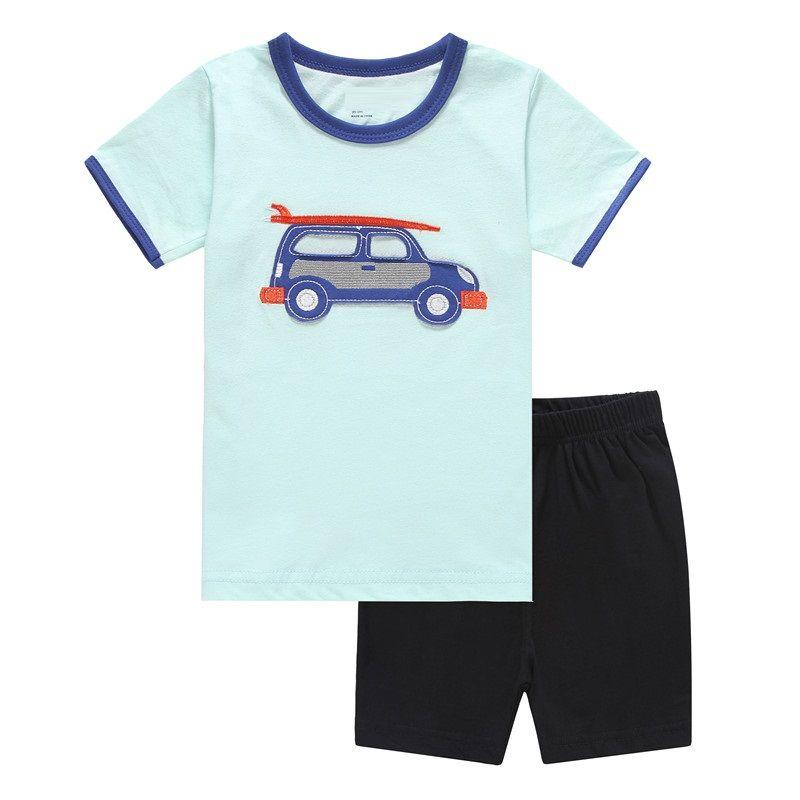 Enfants rayés T-shirts Pantalons courts Vêtements Costumes 2019 Eté Été Coton Coton Garçons Pyjamas Ensembles Vêtements de Nuit Enfants 2-7 Ans