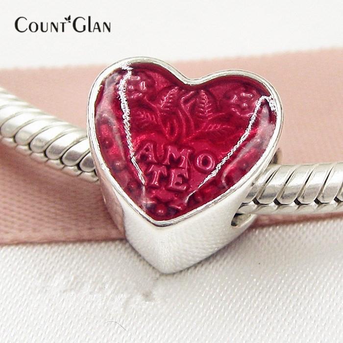 Passt Pandora Armbänder Latin Liebe Herz Silber Perlen Mit Cerise Emaille 2017 100% 925 Sterling Silber Charms DIY Schmuck 498