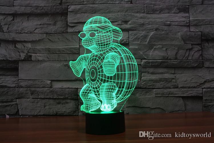 CHINESE Innovative Schildkröte 3D Nachtlichter für Heimtextilien Sieben Farben RGB Led Touch Lampe als kreative Geschenke USB