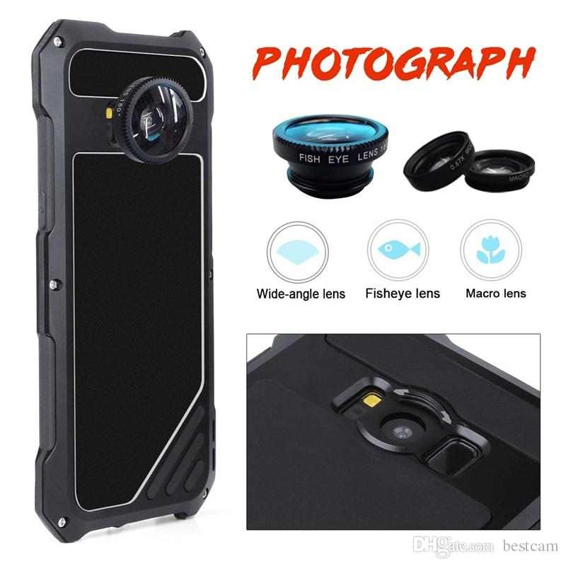 brand new 49b38 4733e For Samsung Galaxy S8 2 in 1 Camera Lens Phone Case With Dustproof  Shockproof Aluminum Case For Galaxy S8 Back Cover