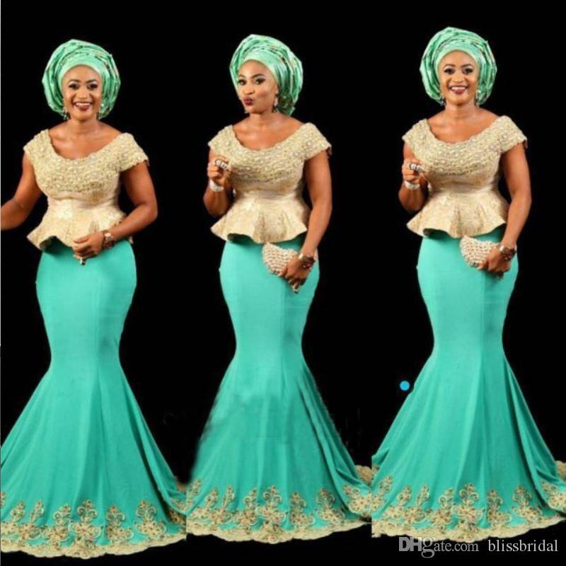 God And Blue Plus Size Prom Dresses With Capped Sleeves Scoop Neck Applique Mermaid Evening Gowns Sweep Train Aso Ebi Vestidos Party Dress