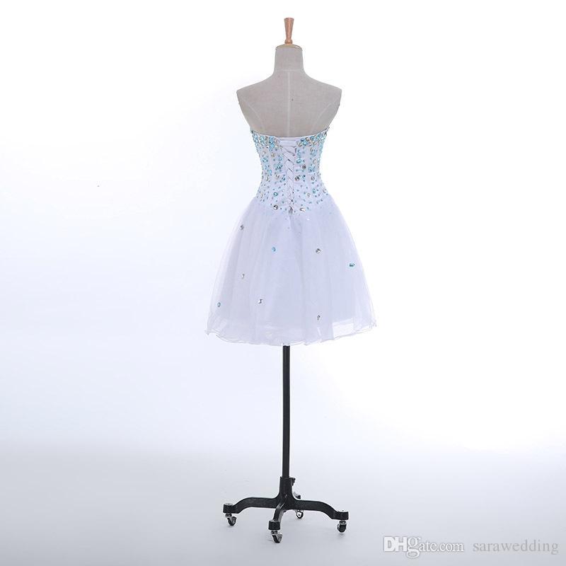 Кристалл из бисера Милая Тюль Короткое платье возвращения на родину зашнуровать 2019 длиной до колен платье выпускного вечера Элегантное платье