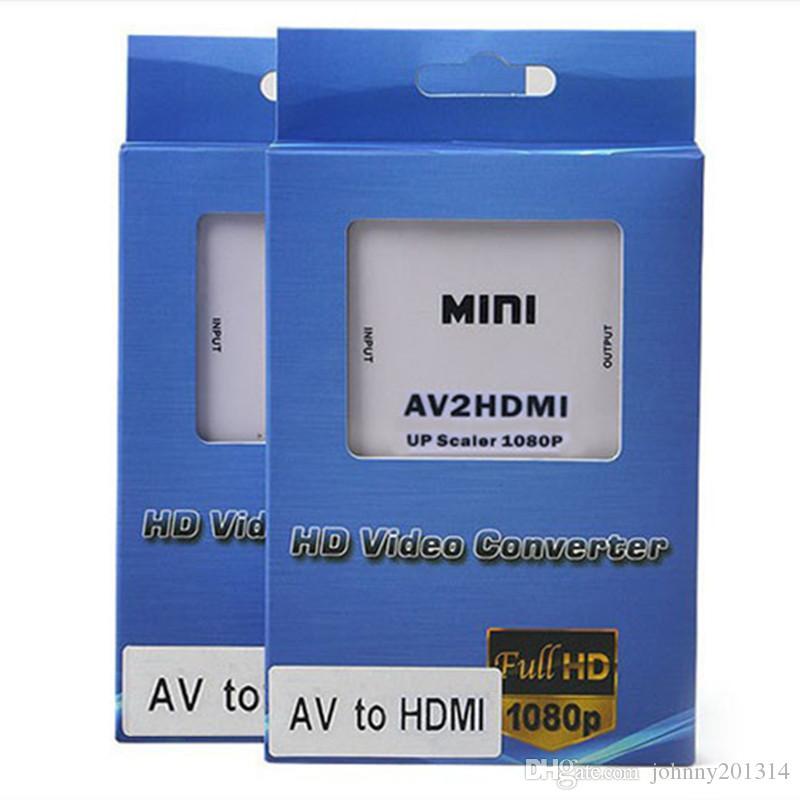Nuovo adattatore composito RCA AV HDMI CVBS a HDMI Supporto HD 720P 1080P AV a HDMI Mini AV2HDMI Convertitore video DHL gratuito