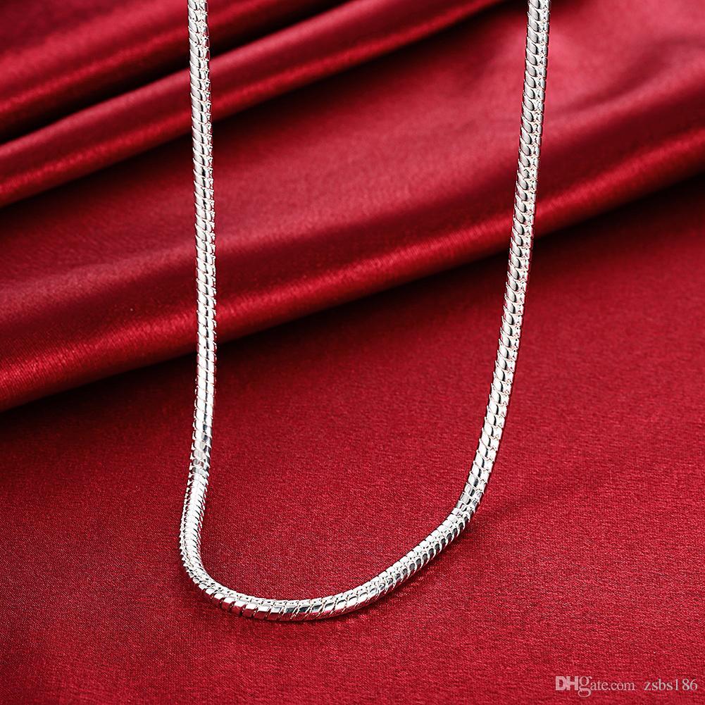 S065 Collar de cadena de serpiente de plata de ley 925 de calidad superior 4MM 20inches Pulseras 8inches Sistema de joyería de moda para hombres Envío gratuito