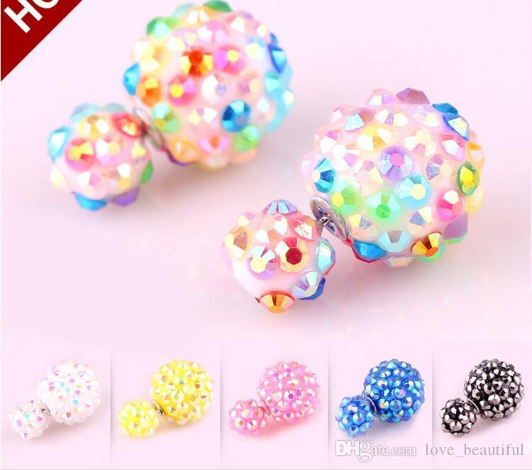 2017 hot sales Double Pearl Earrings 8mm Acrylic Sequins Studs 16mm Crystal Ball Earrings disco Ball Crystal Ball Double Sided Pearl Earring