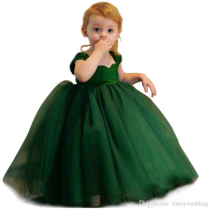Sweetheart Capped Short Sleeves Ball Gown Ankle Length Tulle Cute Flower Girls' Dresses Kids Formal Wear