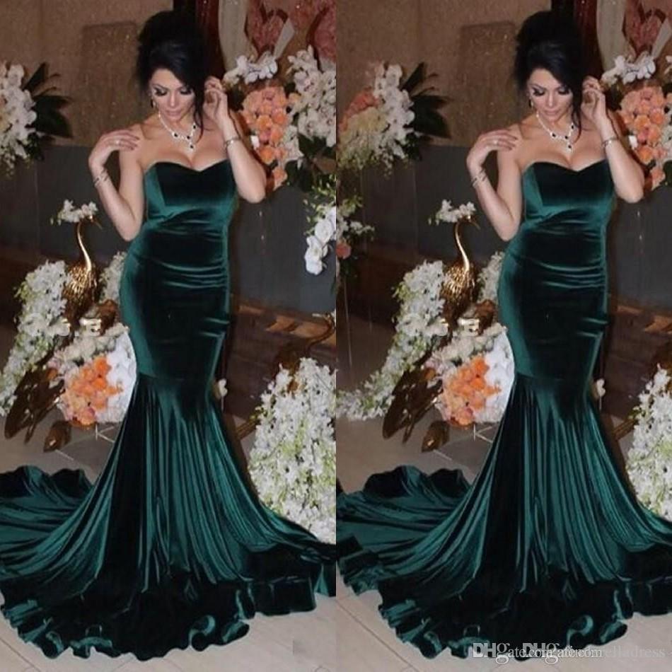 2017 Dark Teal Mermaid Sexy Prom Dresses Sweetheart Velvet Sweep