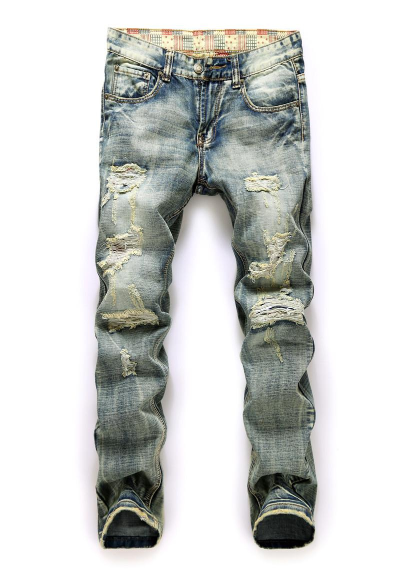 2017 Blue Jeans Men Distress Ripped Skinny Jeans Famous Brand ...