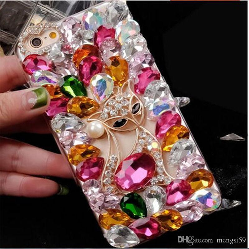 For Samsung galaxy G530 a3 a5 a7 2016 2017 grand prime Luxury Cute Fox Diamond Rhinestone Acrylic Soft Bling crystal case