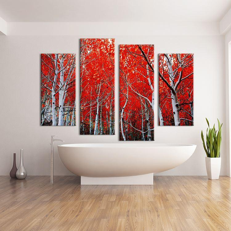 2018 4 Panels Sierra Nevada Red Trees Wall Painting Print On Canvas ...