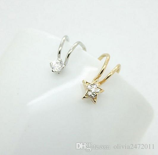 Silverguldpläterad öronklipp Inga öron Pierced Clip Earrings Zircon Flower Design Stud Örhängen Manschett Smycken Unisex Ear Bones Designs Mix