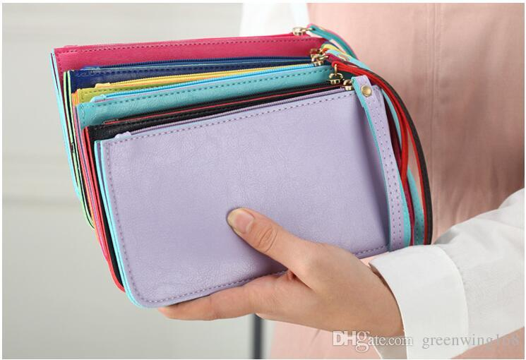 Candy color Long wallet with double hand mobile phone & cash wallet card holder Long Coin Purse