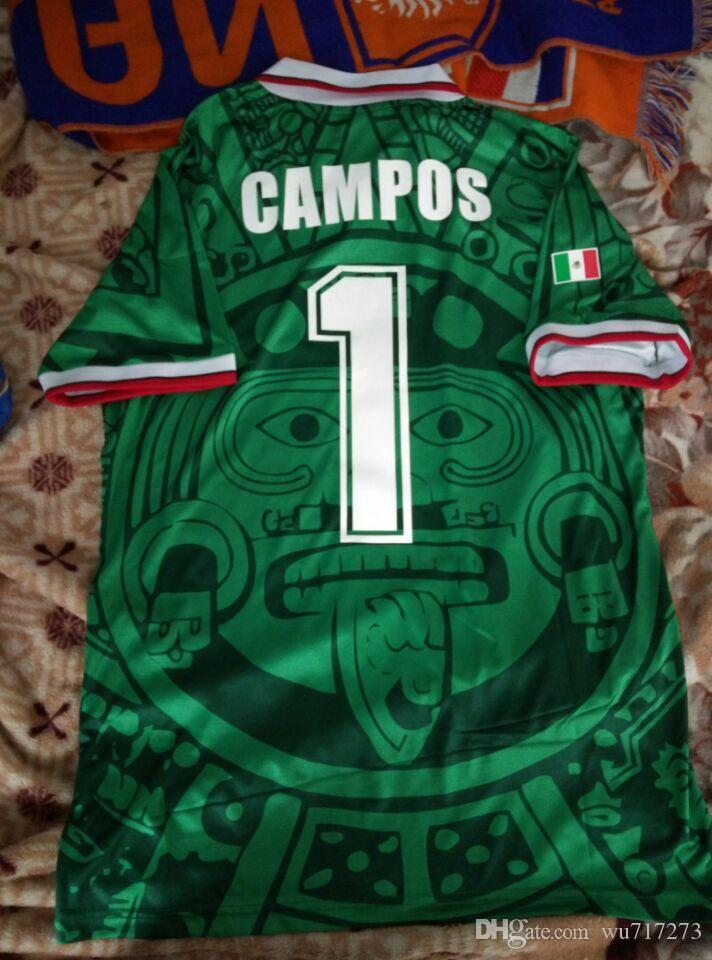 1998 MEXIQUE RETRO BLANCO Hernandez Blanco maillots de football Campos uniformes gardien ACCUEIL 1994 Football Maillots chemise camiseta futbol 1986