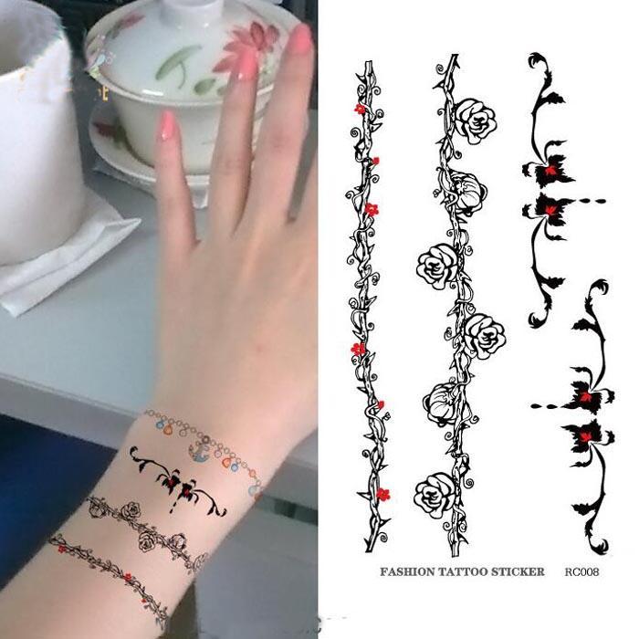 Disposable Tattoo Stickers Wrist Vine Flower Temporary Tattoo ...