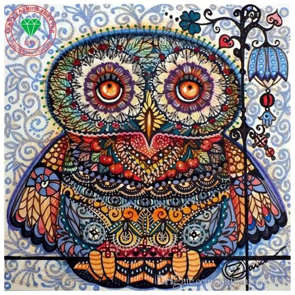 New needlework Diy diamond painting cross stitch kits full resin round diamond embroidery Mosaic Home Decor animal cute owl yx0220