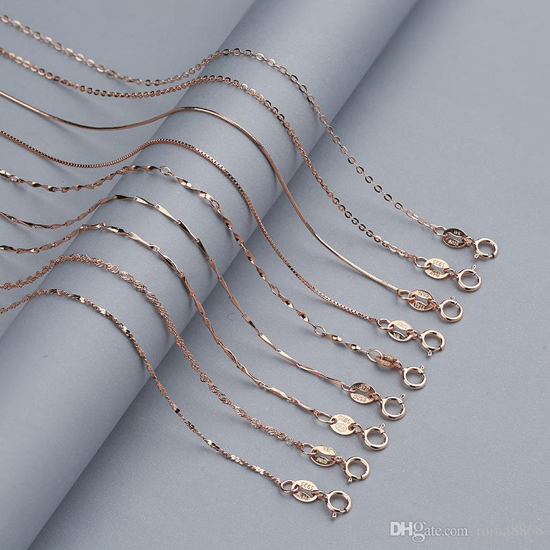 925 Sterling Silver Chain necklace 0.8MM Gold/Rose gold plated Chain clavicle Necklace For Women with Lobster Claw Clasp