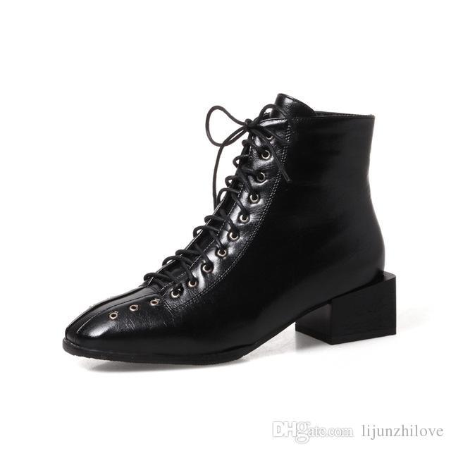 416875326d taglia grande 34-43 moda donna punta quadrata scarpe donna med scarpe  stringate allacciatura stivali neri martin stivali bianchi