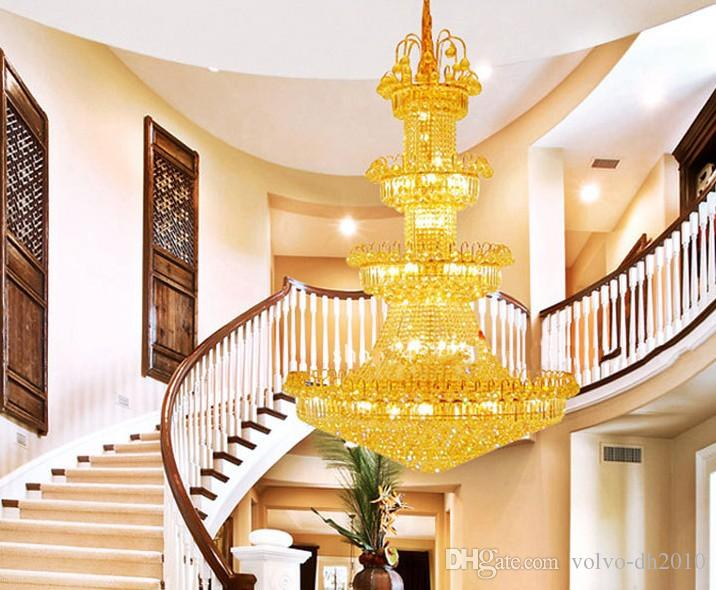 LLFA1506 Ücretsiz kargo Lüks villa oturma odası avize kristal avize modern minimalist avize işık uzun çift merdiven