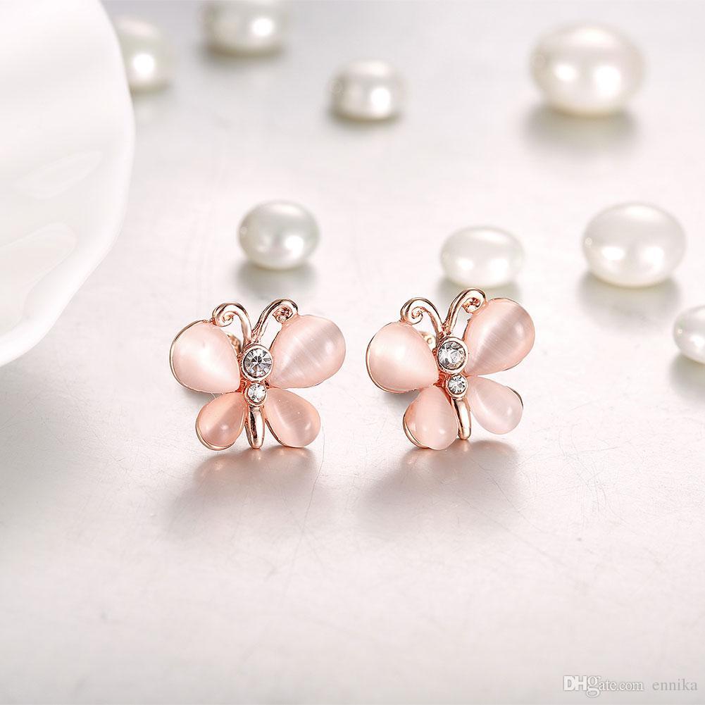 Butterfly Czech Drill Stud Earrings , 18K Gold Plated Earrings Jewelry Women's Fashion Stud Rose Gold Earrings e076