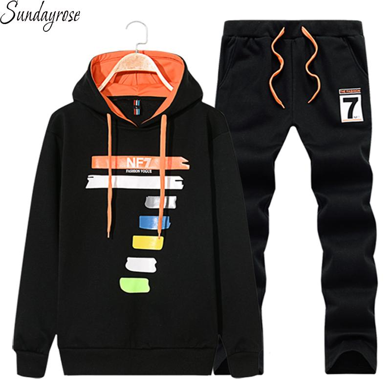 Wholesale- Brand 2 Pcs Men's Sports Suit Hoodie + Drawstring Pants Big Colorful Number 7 Pattern Gym Fitness Tracksuit Jogging Running Sets