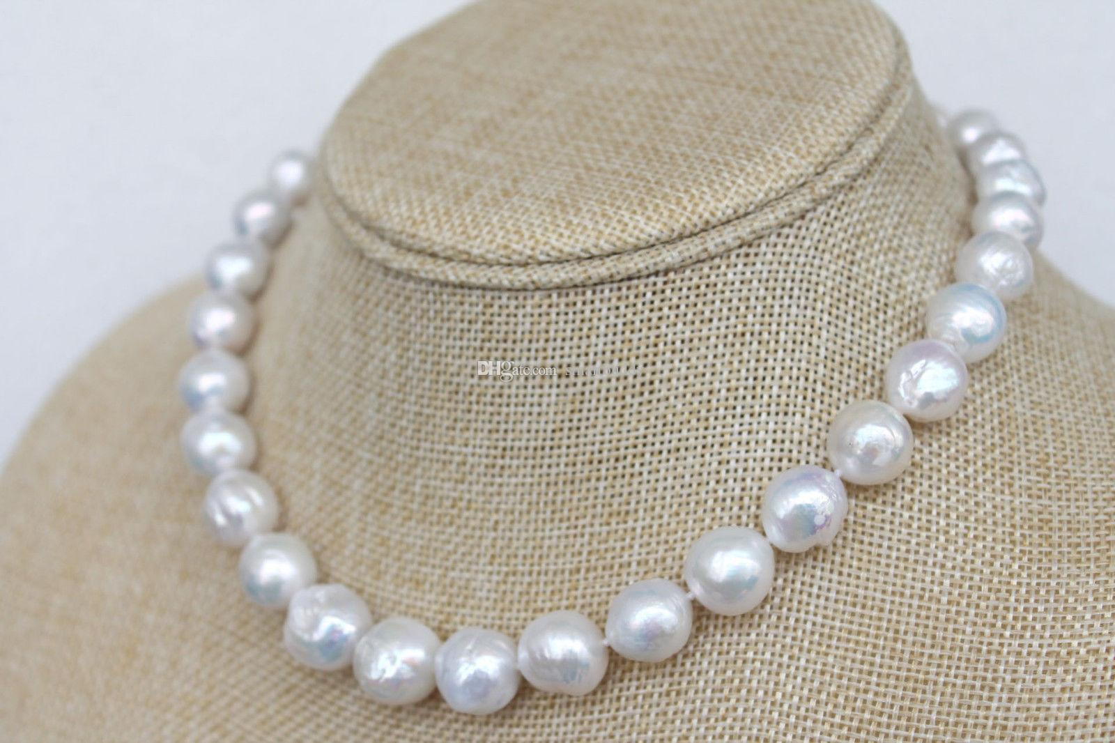 Bijoux de perles fines Magnifique 12-15mm blanc Kasumi-like Winkled Pearl Necklace 18 pouces