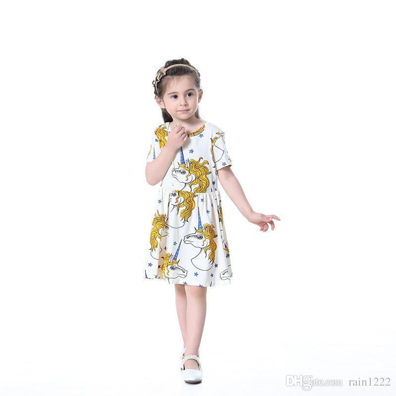 Girls Princess Cotton Short Dress Baby Kids Short Sleeve Cartoon Little Pony Pleated Dress Children Babies Ruffles Clothes Dresses Skirts