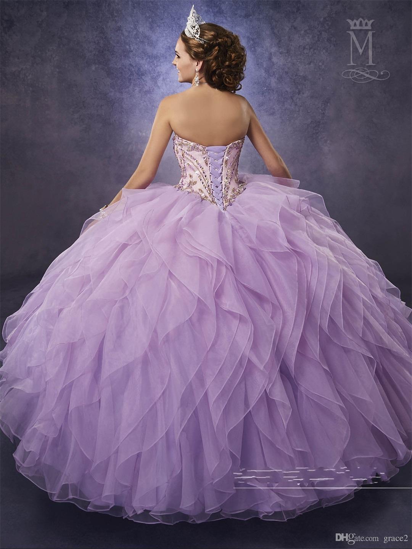 Lilac Quinceanera Dresses 2017 Mary's with Detachable Illusion Top and Organza Ruffle Skirt Aqua vestidos de 15 anos Major Beading