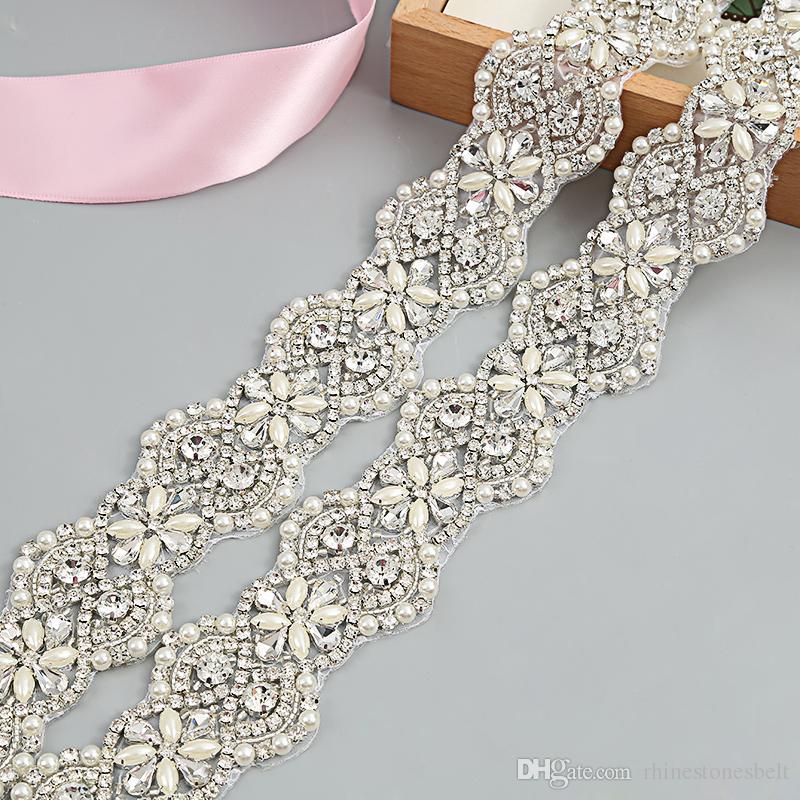Wedding Belt Clear Crystal 45cm Length Rhinestones Appliques Sewing on Bridal Sashes Wedding Dresses Sashes Bridal Accessories T46