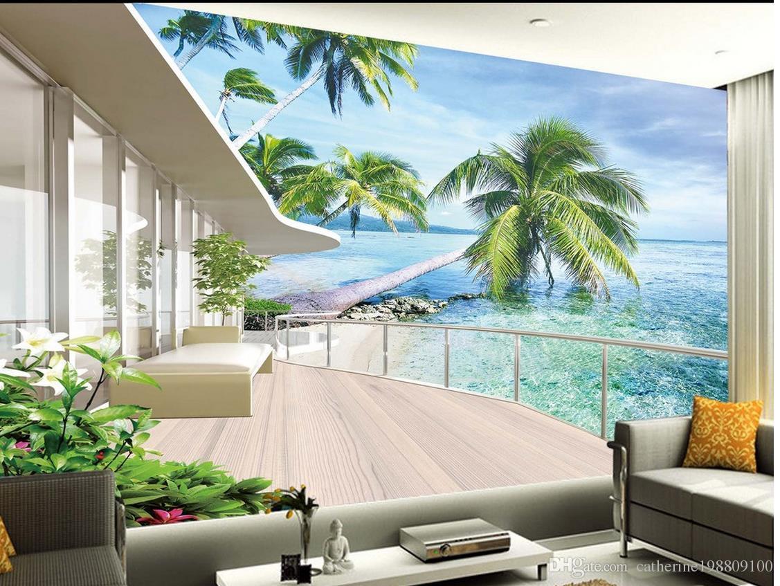 높은 품질 Costom 빌라 발코니 풍경 TV 배경 벽 벽화 3D 배경 화면 3D TV의 배경에 대한 벽 종이