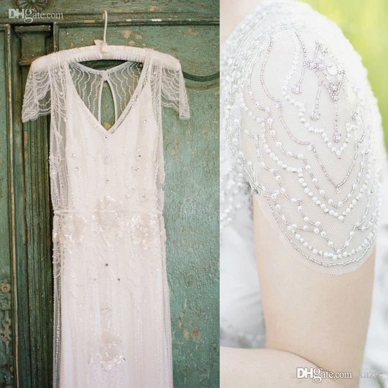 Vintage Great Gatsby Country Crystal Wedding Dresses Jenny Packham Sparkly Cap Sleeve Full length Garden A-line Wedding Gowns