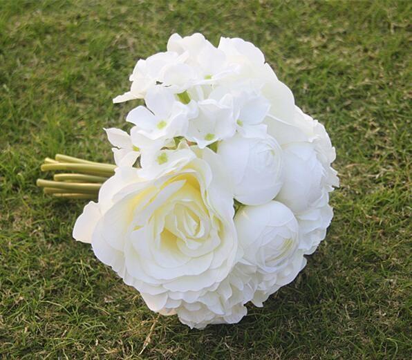 2019 pas cher Nouvelle Arrivée Haut Niveau Mariage Bouquet De Mariée Livraison gratuite Style avec Mélanger Artificielle Fleur Rose