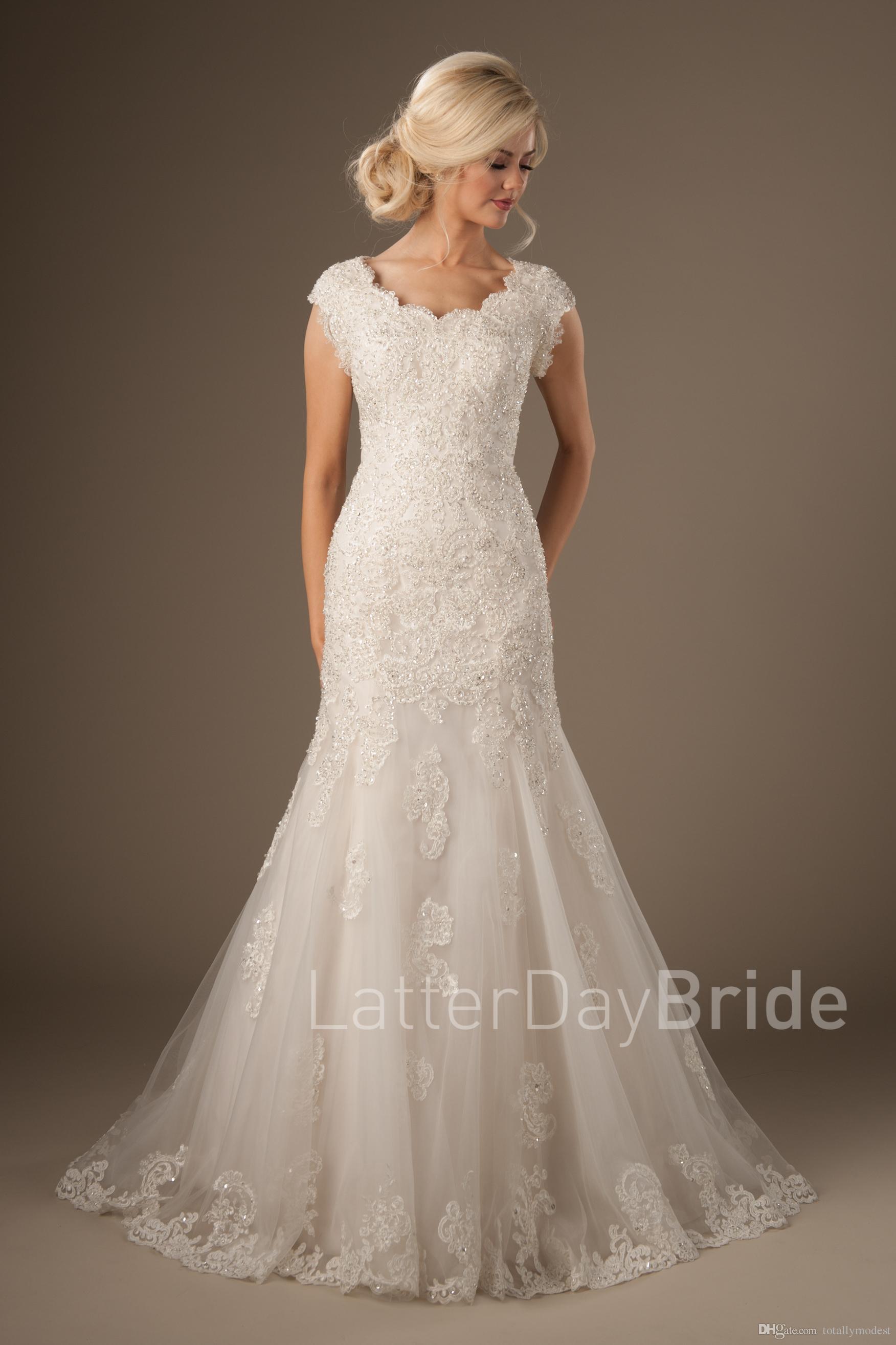 Modest Sereia Vestidos de noiva com mangas com decote em bico frisado Apliques de Renda Templo Tule Vestidos de noiva Luxo Custom Made Modesto