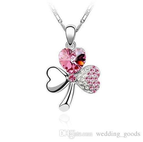 Austrian crystal sweet clover necklace female short paragraph ornaments WFN104 with chain a