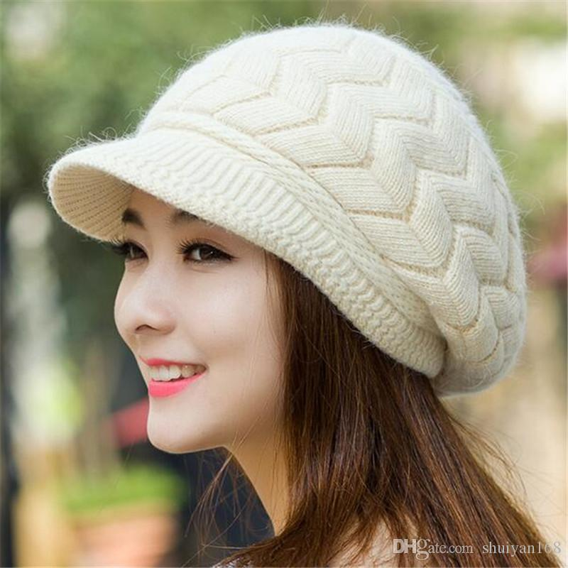 2018 Cute Knitted Winter Hats Female Cute Female Knitted ...