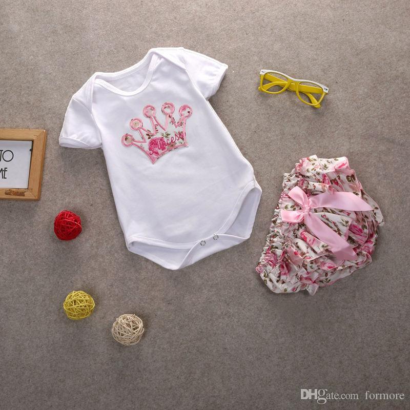 Новорожденных детей бутик одежды Cute Baby Girls Vestido Infantil ползунки Хлопок Топы Rompers Цветочные Брюки Наряды 2 Шт. Комплект одежды