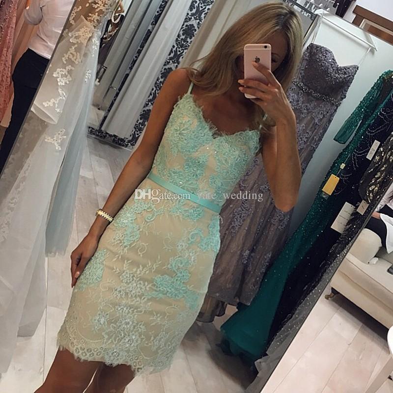 Mint Green Lace Short Prom Dresses V Neck Spaghetti Straps Sheath Mini Party Dresses Backless Short Evening Gowns