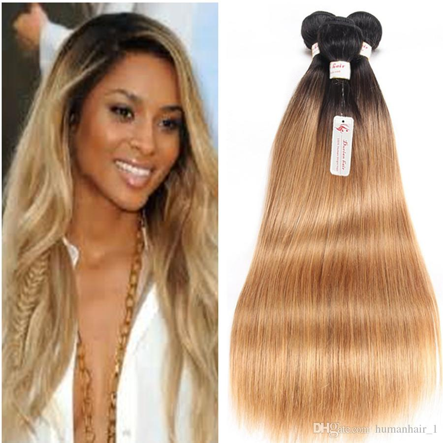 2018 T1b 27 Dark Root Honey Blonde Straight Ombre Human Hair Weave 3