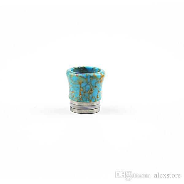 810 Turquoise Drip Tips Belle pointe de goutte à goutte Tophus Stone pour 810 fils TFV8 RDA RBA Atomiseur Vaporisateurs Embouchure large trou