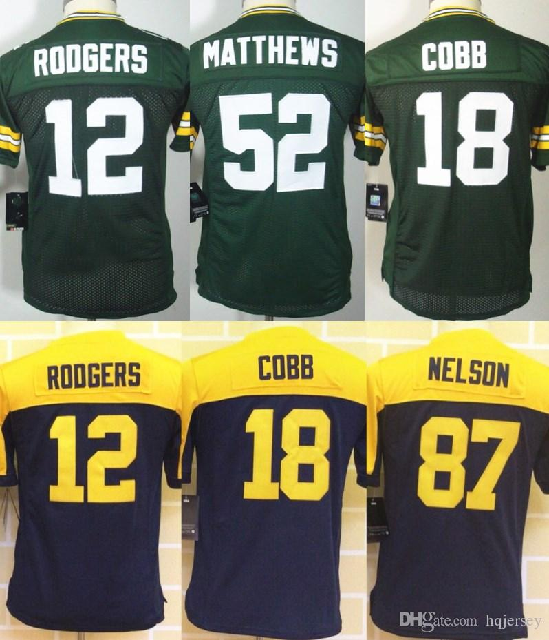... 87 Jordy Nelson Color NFL Jersey 2017 2017 White Green New Youth Kids  Jersey Rugby 12 Aaron Rodgers 52 Clay Matthews 18 ... 73879ff7b